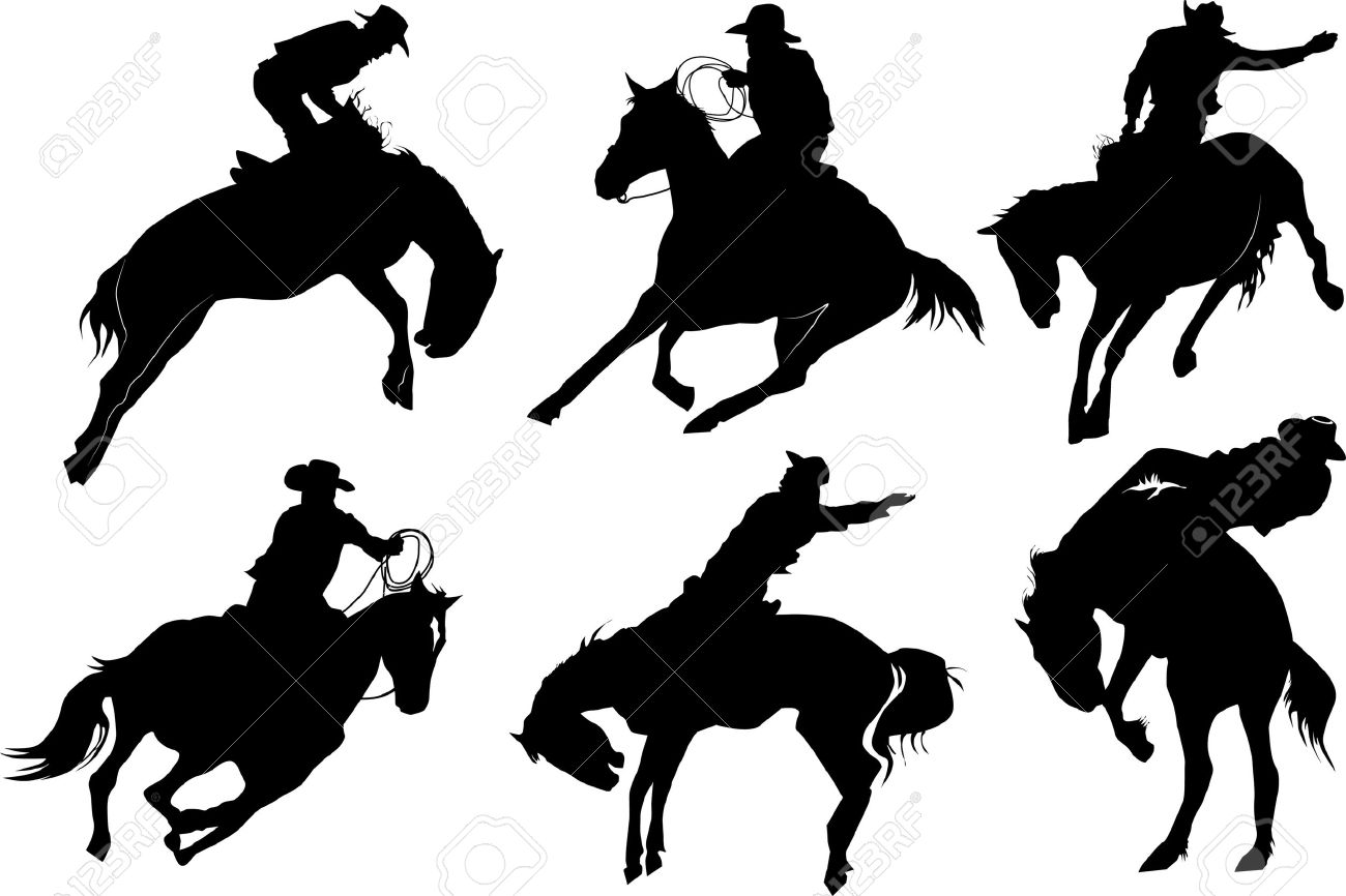 Cowboy on horse silhouettes on a white background Stock Vector - 8730429