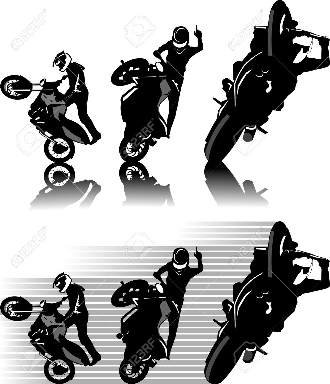 A silhouette of a motorcycle racer commits high jump; Stock Vector - 8730436