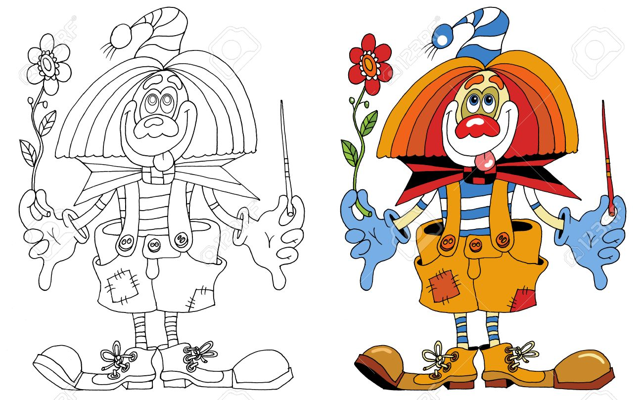 cheerful clown that you can decorate paints; Stock Vector - 9057237