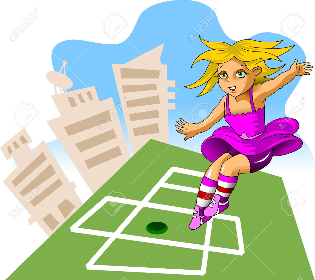 girl playing hopscotch on the green area Stock Vector - 10416677