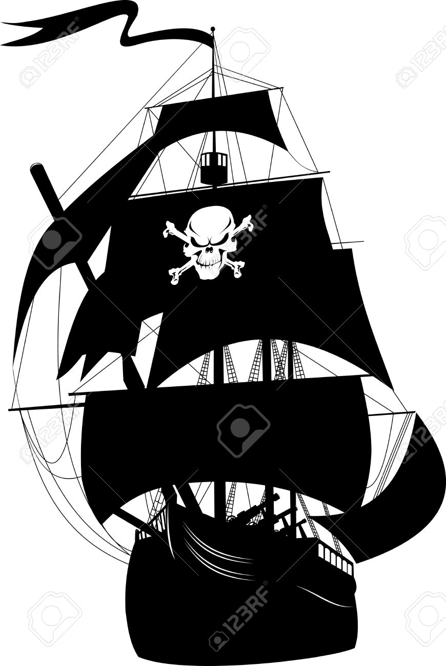 silhouette of a pirate ship with the image of a skeleton on the