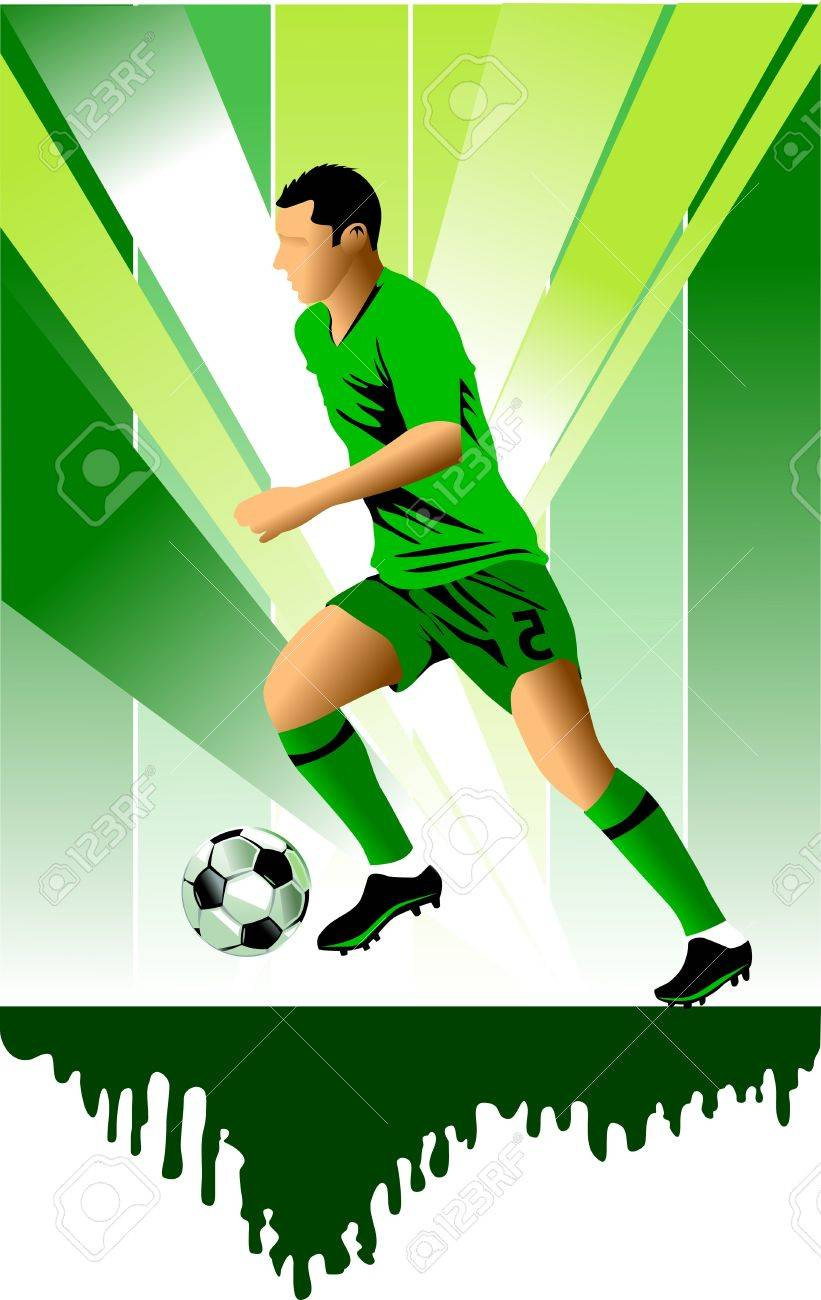 soccer design element; green background (vector-illustration); Stock Vector - 11088718