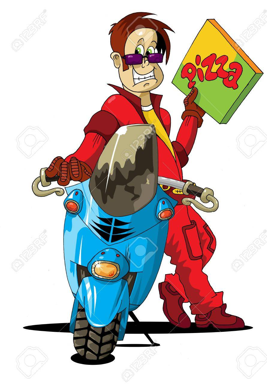 boy delivering pizza on scooter - vector illustration; Stock Vector - 11830848