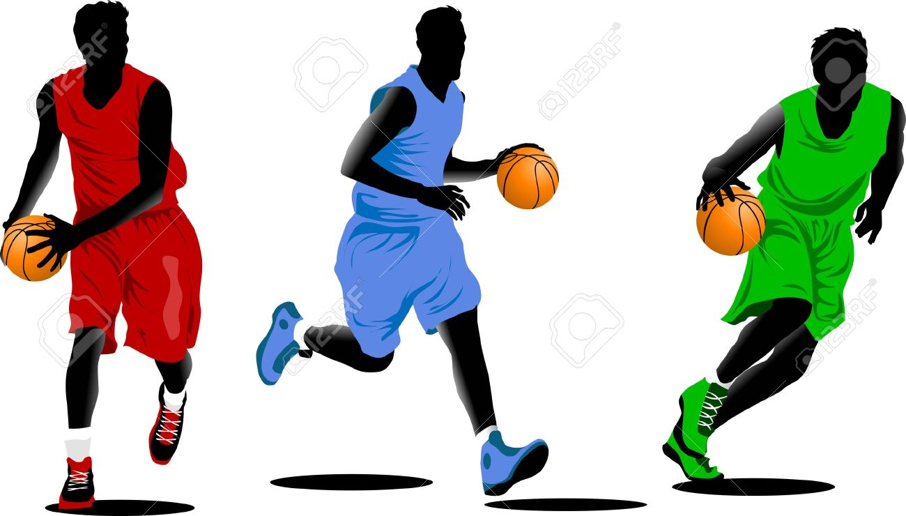Three Basketball Players In The Form Of Different Colors (vector ...