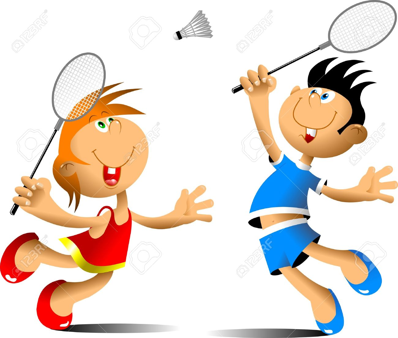 little girl and boy playing badminton royalty free cliparts vectors rh 123rf com badminton clipart image badminton clipart cute