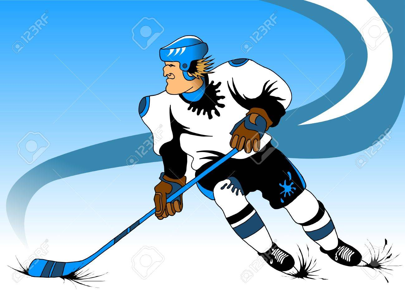 Hockey player makes a strong shot on goal rival; Stock Vector - 12341566