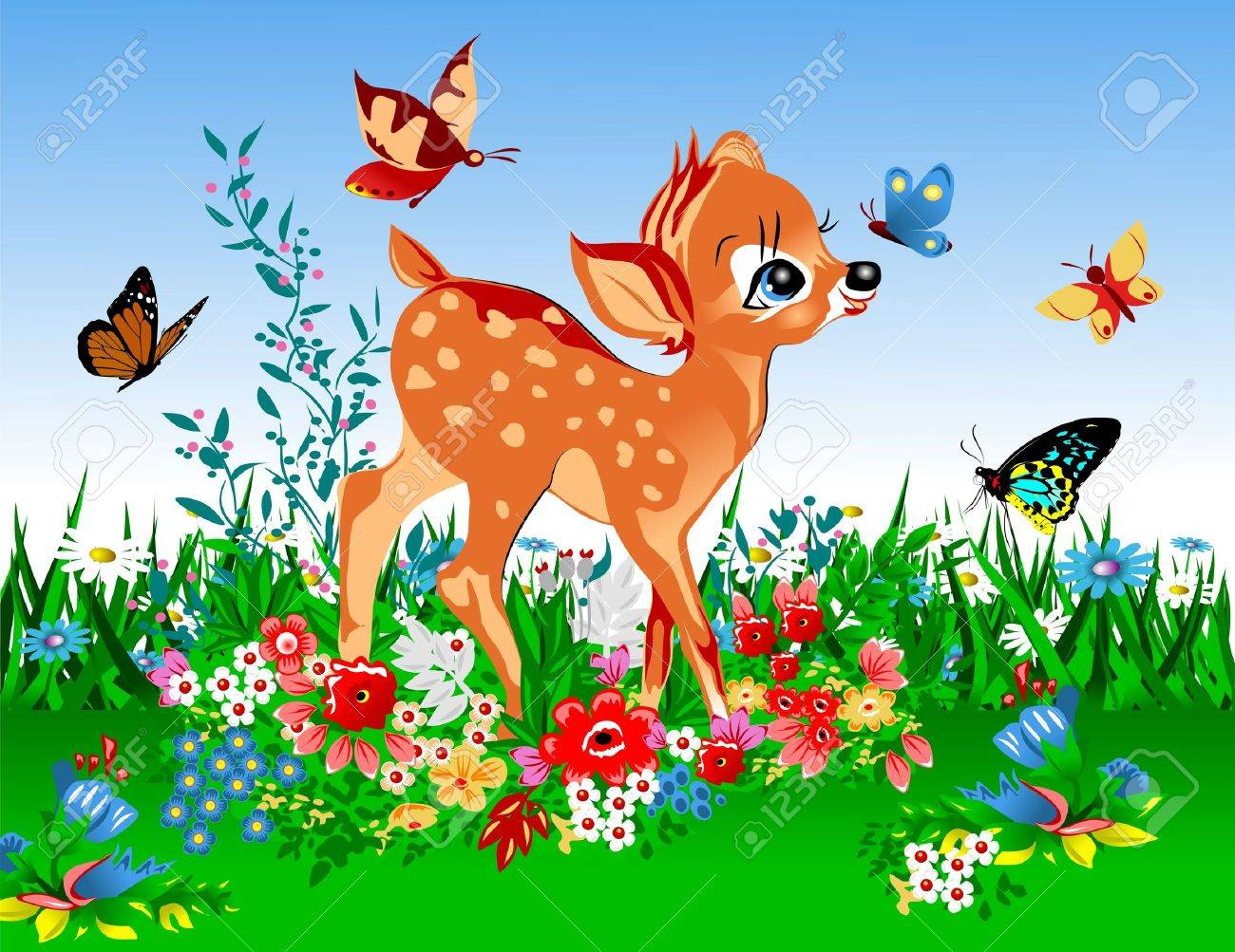 smallest deer in the spring meadow full of flowers and butterflies; Stock Vector - 13950603