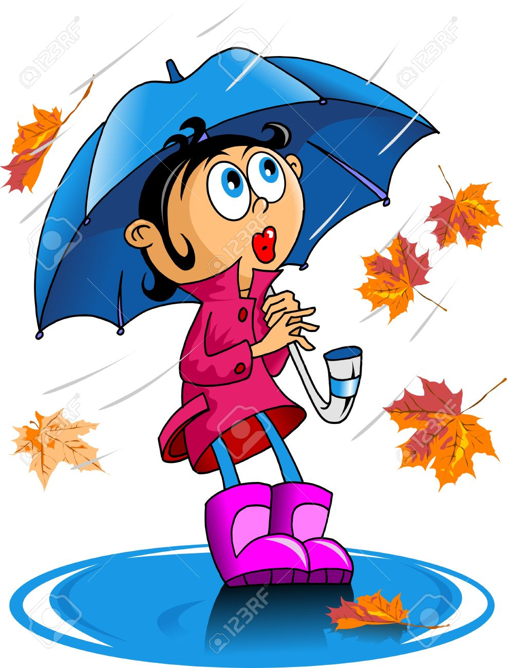 little girl walking with an umbrella in the rain Stock Vector - 14019557