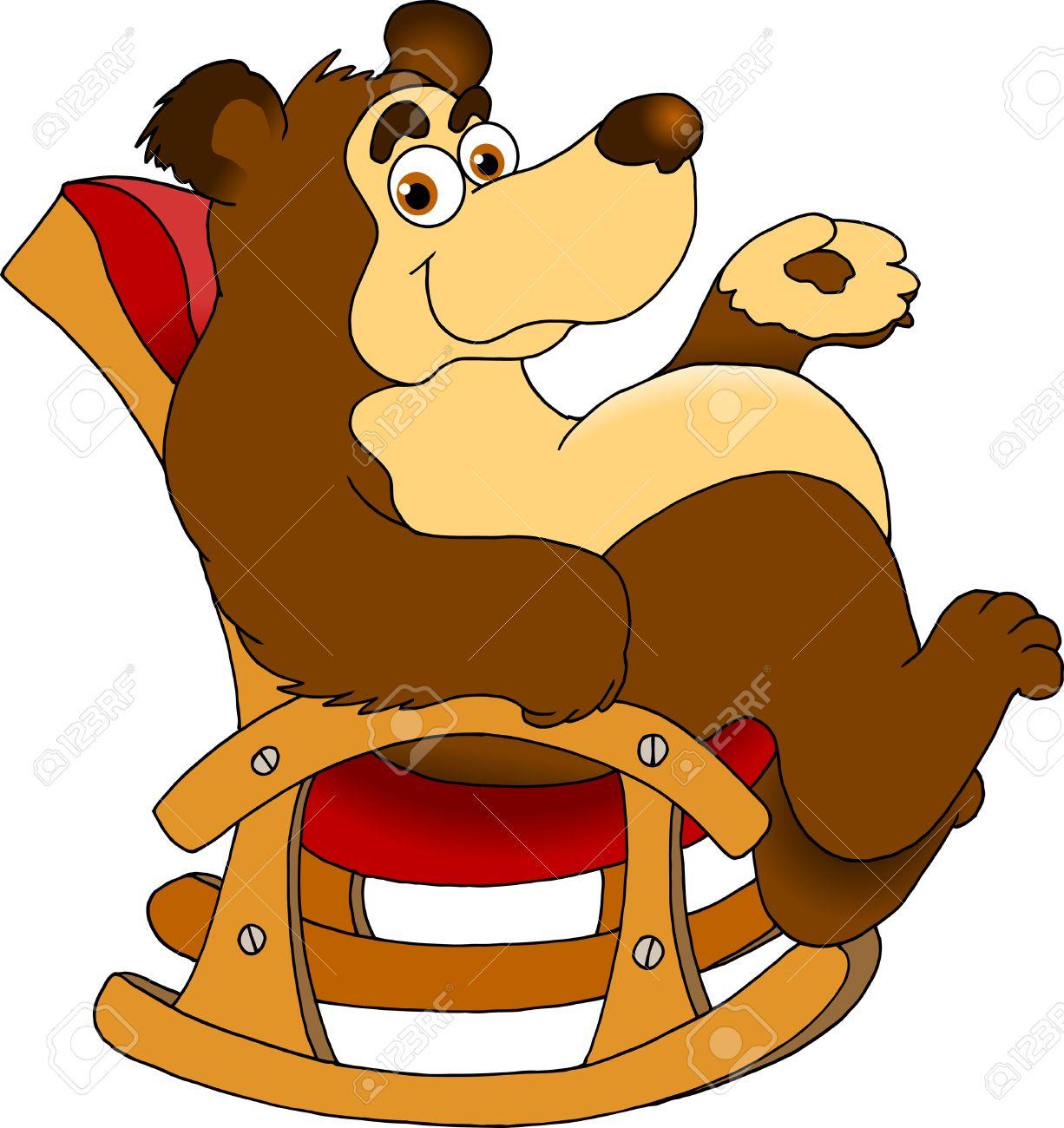 funny bear sitting in a rocking chair  vector illustration ; Standard-Bild - 14481668