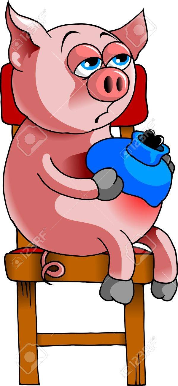 Sick pig with a heating pad on my stomach, waiting to see a doctor Stock Vector - 14957102