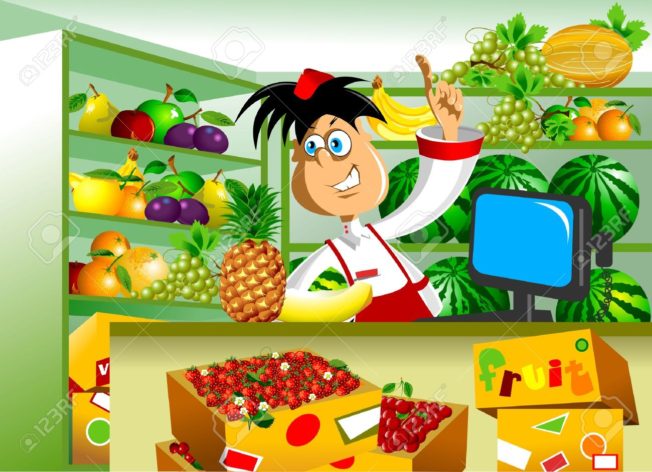 Fruit seller advertises in his store Stock Vector - 16137787
