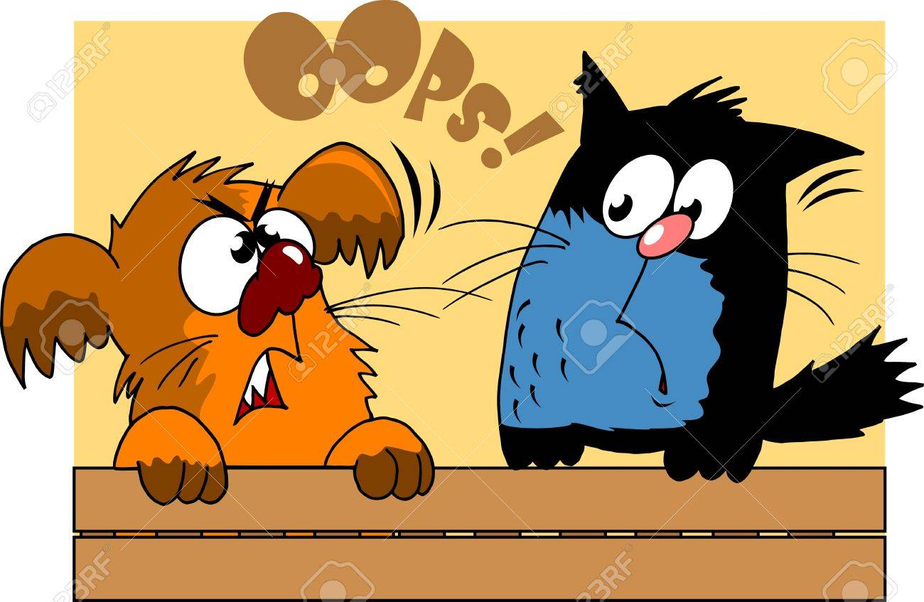 dog scared the cat sitting on the fence  vector illustration ; Stock Vector - 16476079