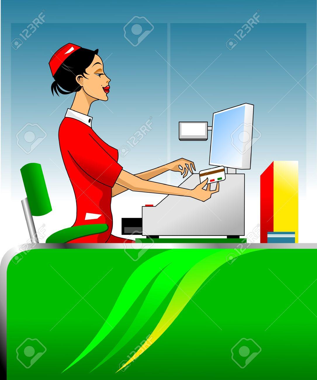 conducta femenina cajero con tarjeta de crédito a través de una caja registradora Foto de archivo - 17686421