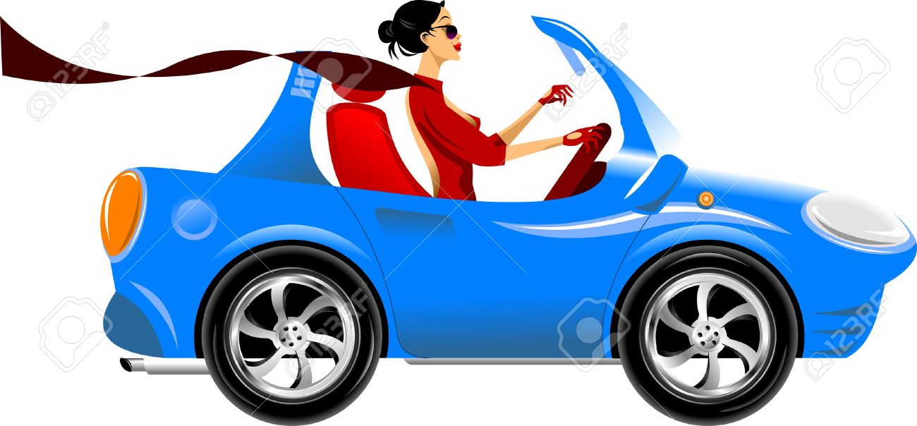 beautiful woman driving a blue car  vector illustration Stock Vector - 18686128