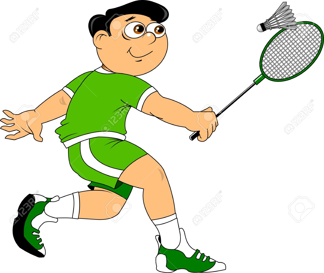 teenager in a green uniform playing badminton royalty free cliparts rh 123rf com badminton clip art free badminton clipart cute