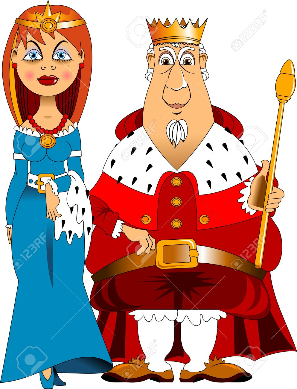 Illustration Of A Man And Woman Dressed As A King And Queen Royalty