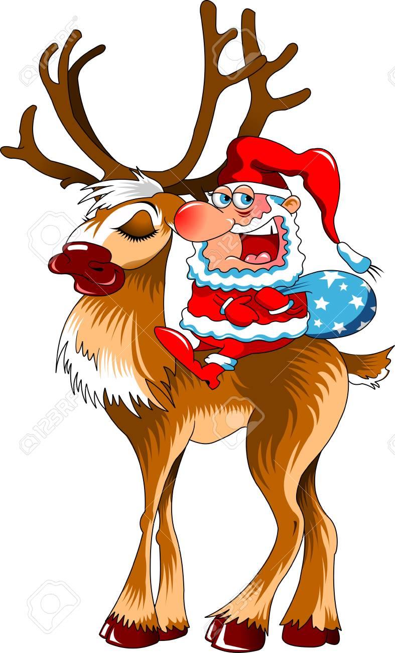 サンタ クロースと赤鼻のトナカイのクリスマス イラストのイラスト素材