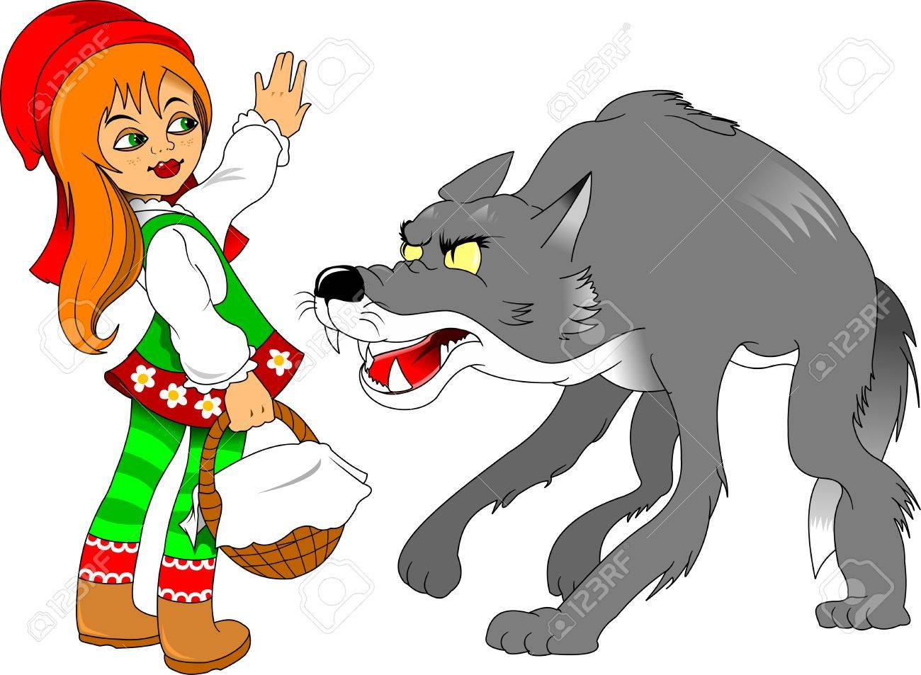 Little Red Riding Hood Meeting A Wolf Illustration Royalty Free