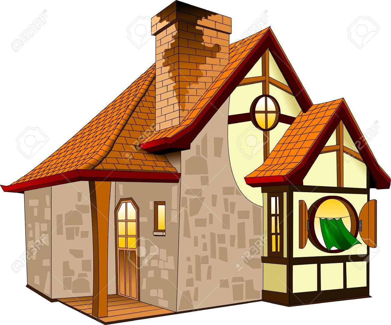 瓦屋根の家イラストと小さなおとぎ話の家のイラスト素材ベクタ