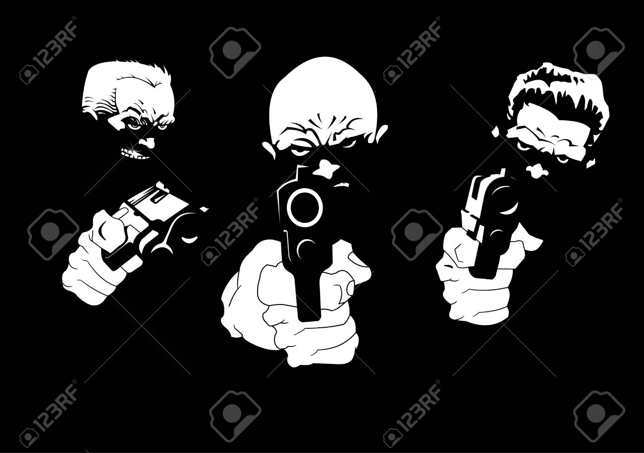 three killers with three pistols on a black background, vector and illustration - 94778590
