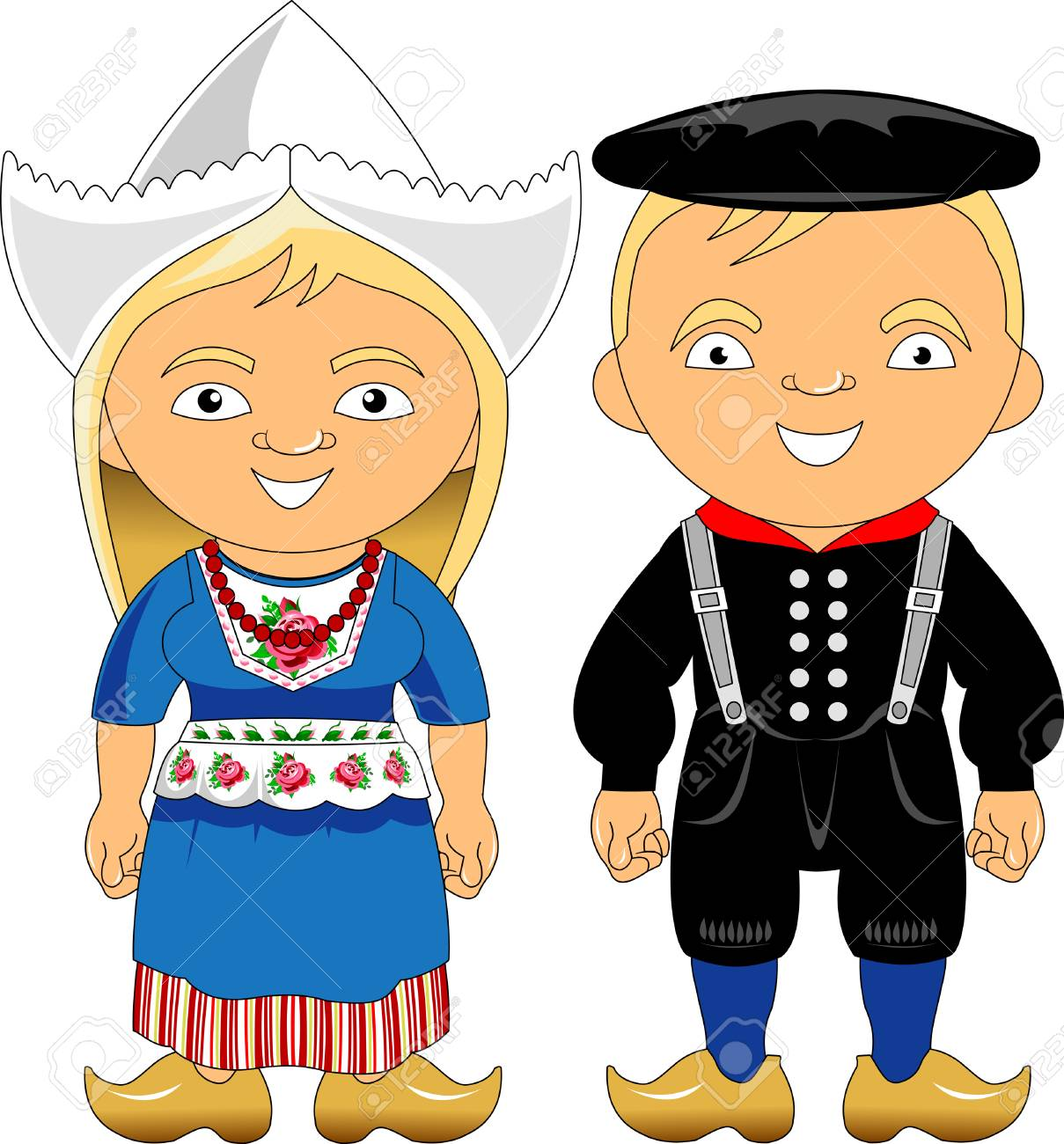 Man and woman in traditional costume, vector illustration - 116220343