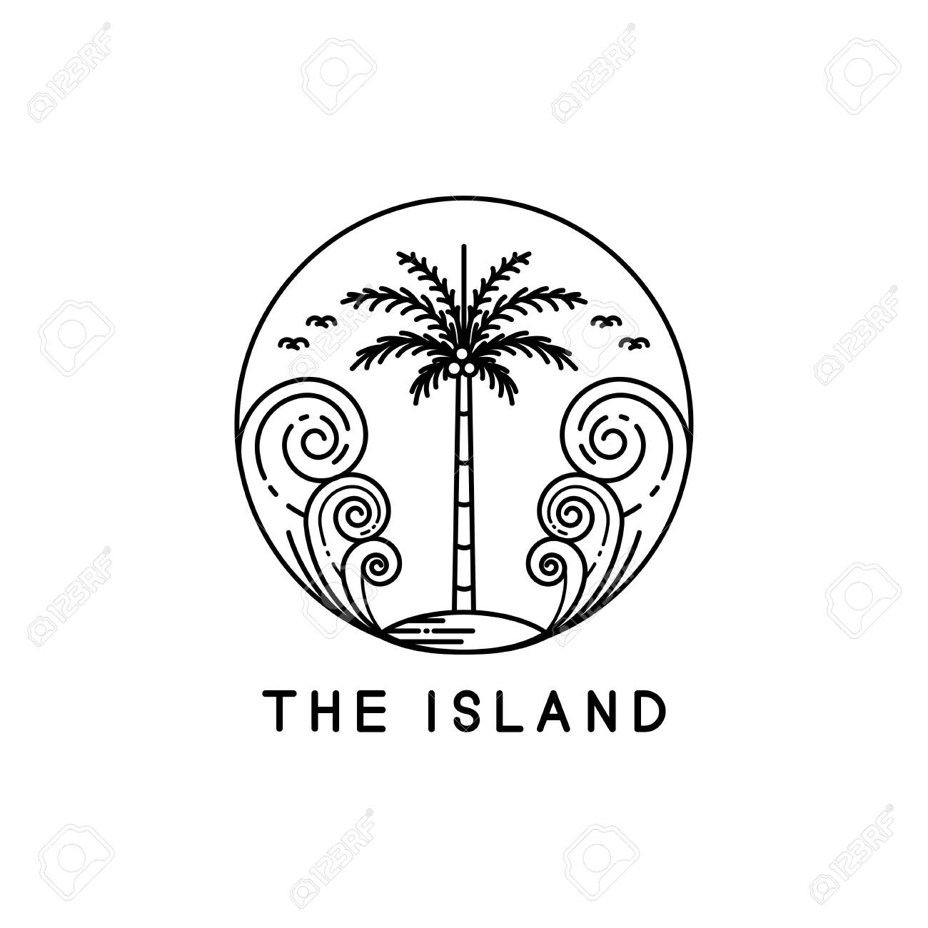 Palm Trees On Tropical Islands, Line Art Style Designs Royalty ...
