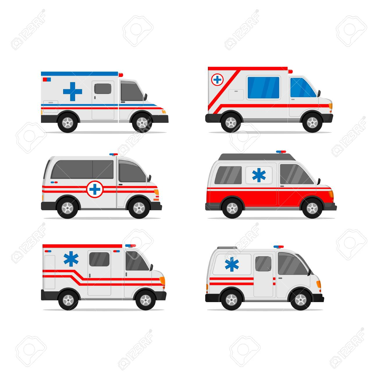 illustration of ambulance vector design set for medical and first aid needs white background - 137044464