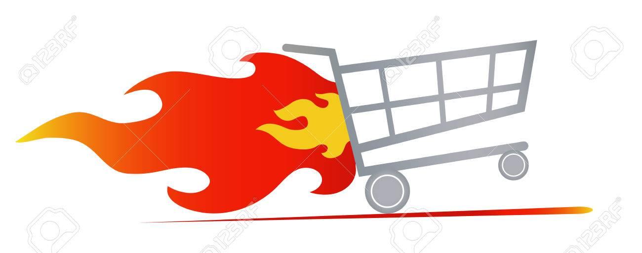 8a9cfbe5ab Foto de archivo - Ilustración vectorial de la cesta de la compra rápida de  montar con fuego
