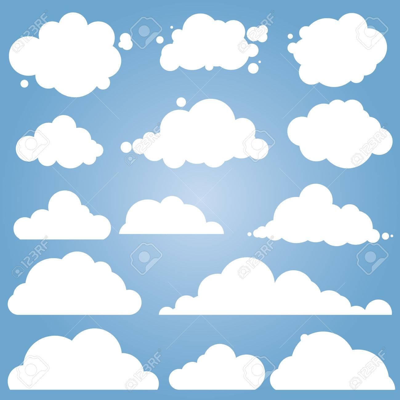 Set for blue sky, different clouds. Cloud icon, cloud shape, label, symbol. Flat graphic element - 55952877
