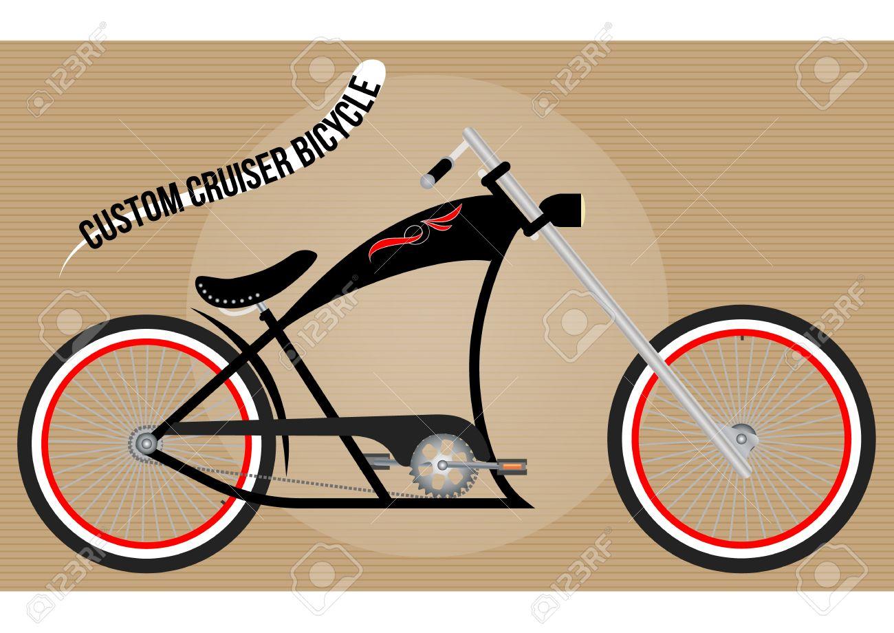 Fabulous Custom Chopper Cruiser Fahrrad, Farbe Vektor-Illustration HV95