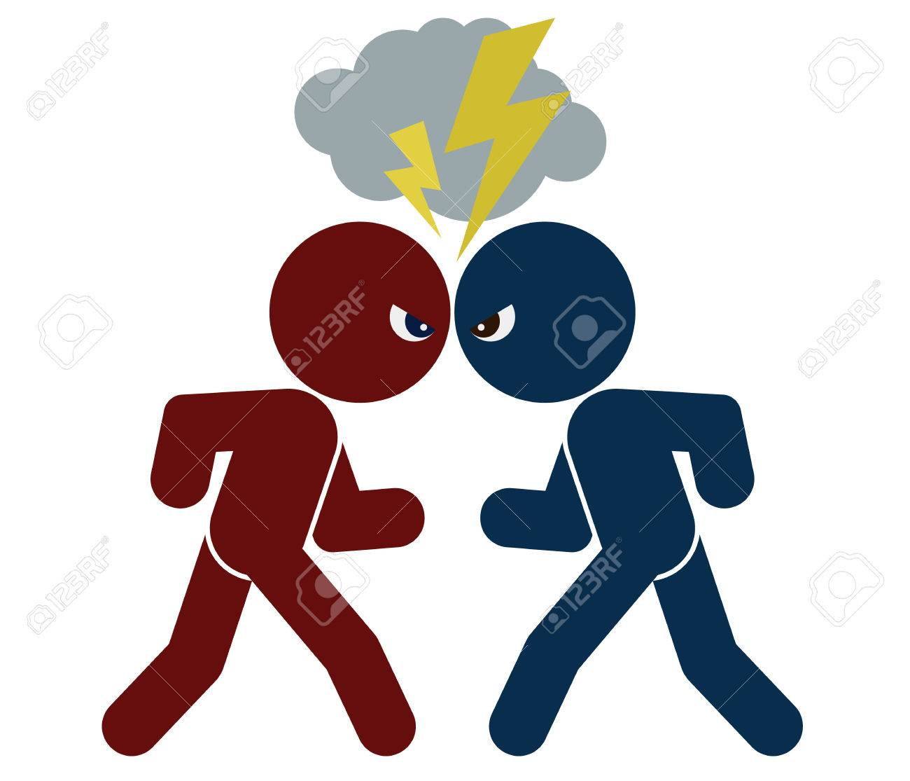 vector schematic image of confrontation two arguing people