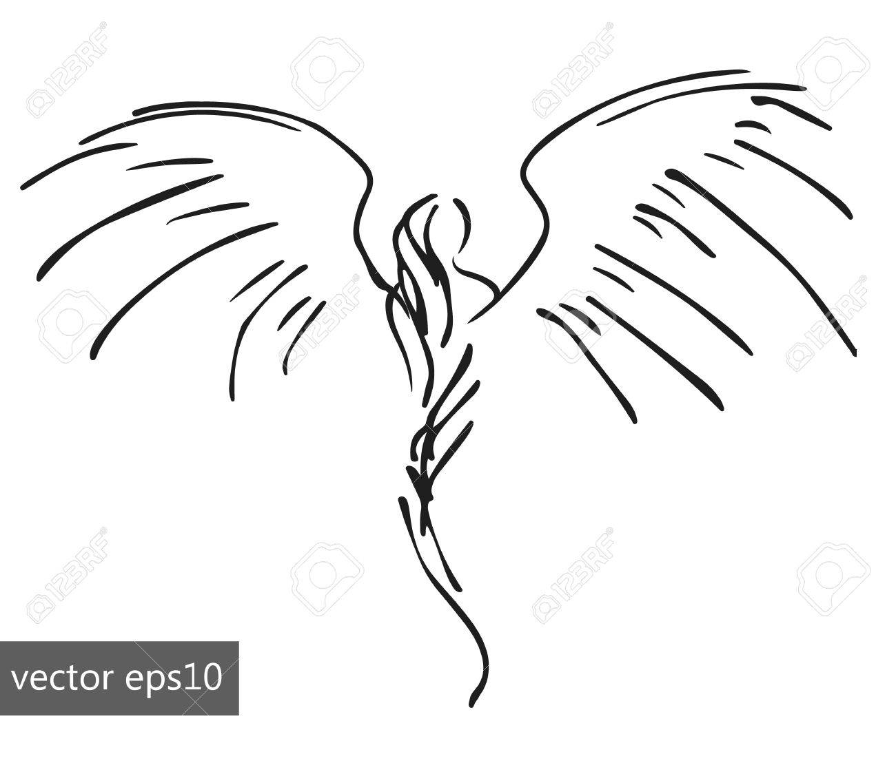 Hand drawn pinstriping angel sketch simple vector illustration stock vector 69343367