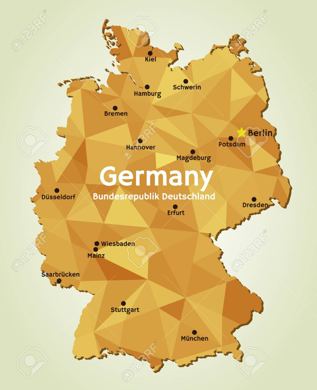vector vector geometric polygonal map of federal republic of germany bundesrepublik deutschland and its capitals of 16 federal states bundeslander