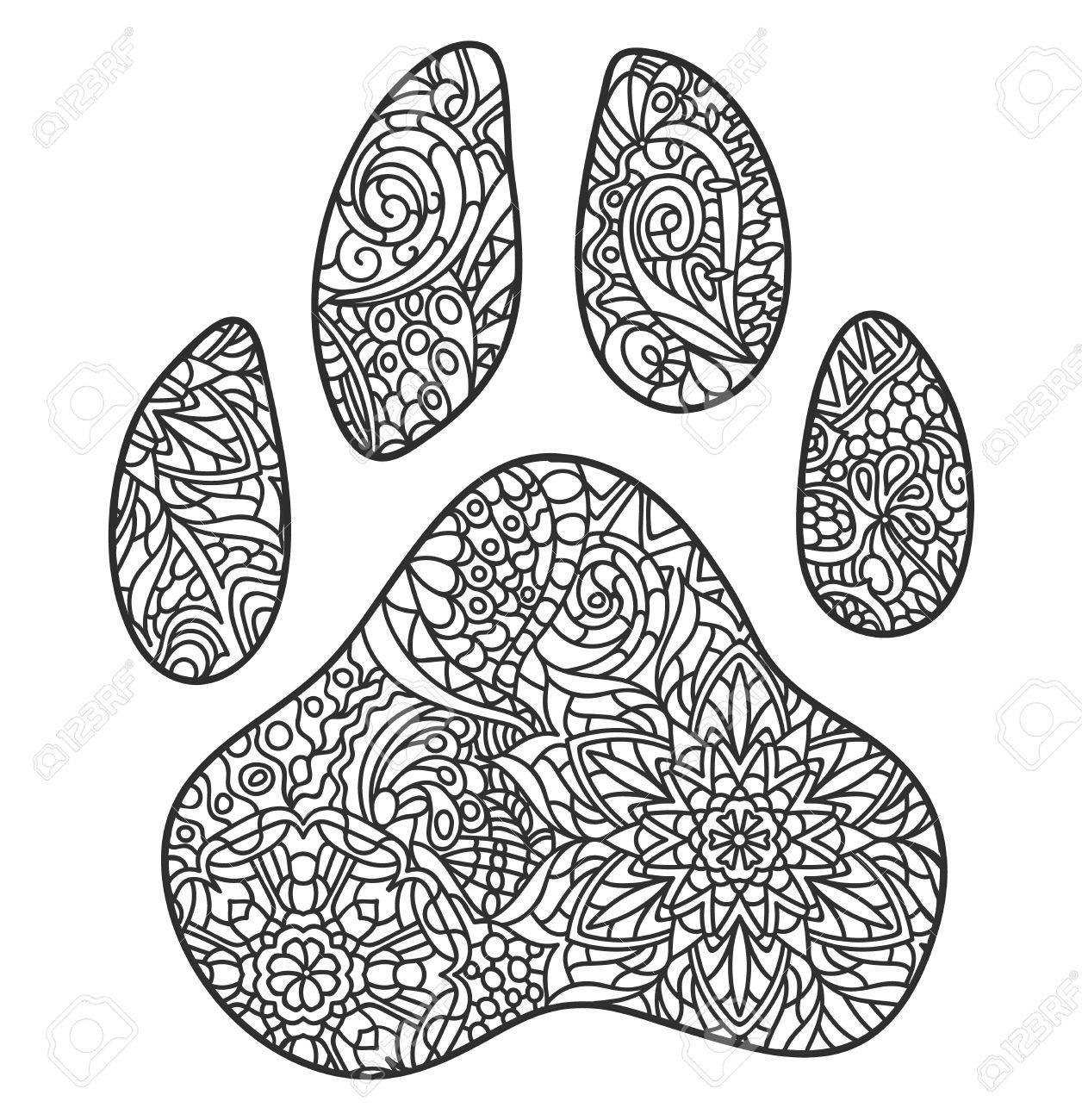 a vector monochrome hand drawn zentagle illustration of dog paw
