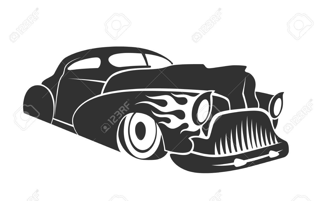 Old Custom Car Silhouette, Hot Rod Low Rider Coupe Isolated Vector ...