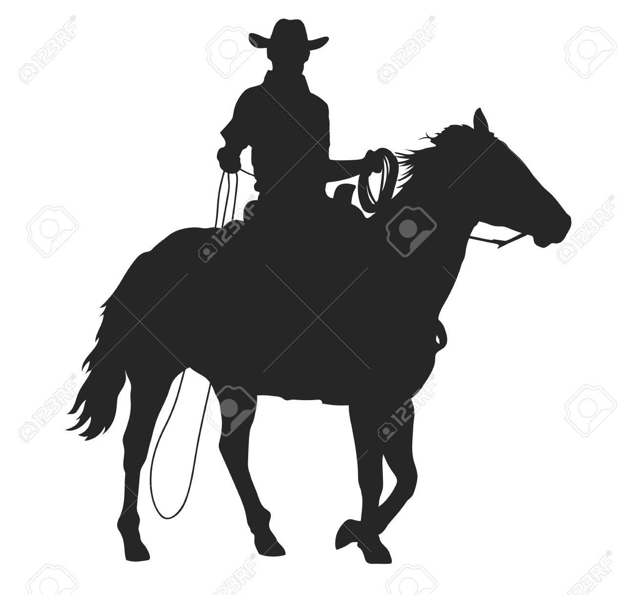 Cowboy With Lasso Riding A Horse Isolated Vector Silhouette Royalty Free Cliparts Vectors And Stock Illustration Image 85029993