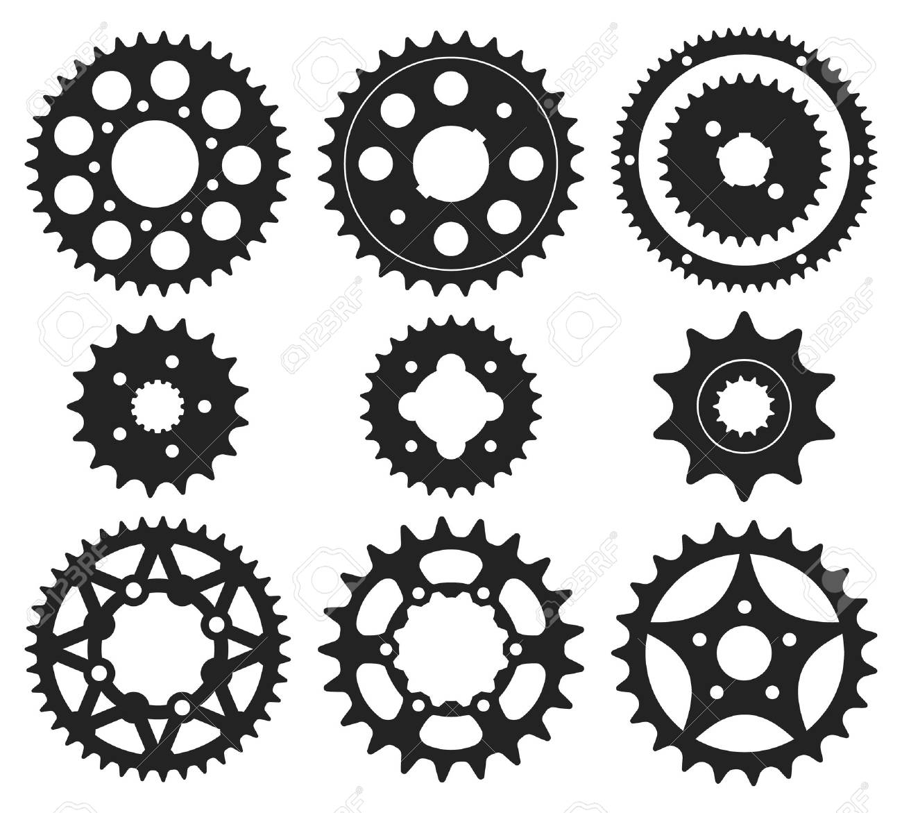 7d78d4cc25e Vector Set Of Bike Chainrings And Rear Sprocket Silhouettes Royalty ...