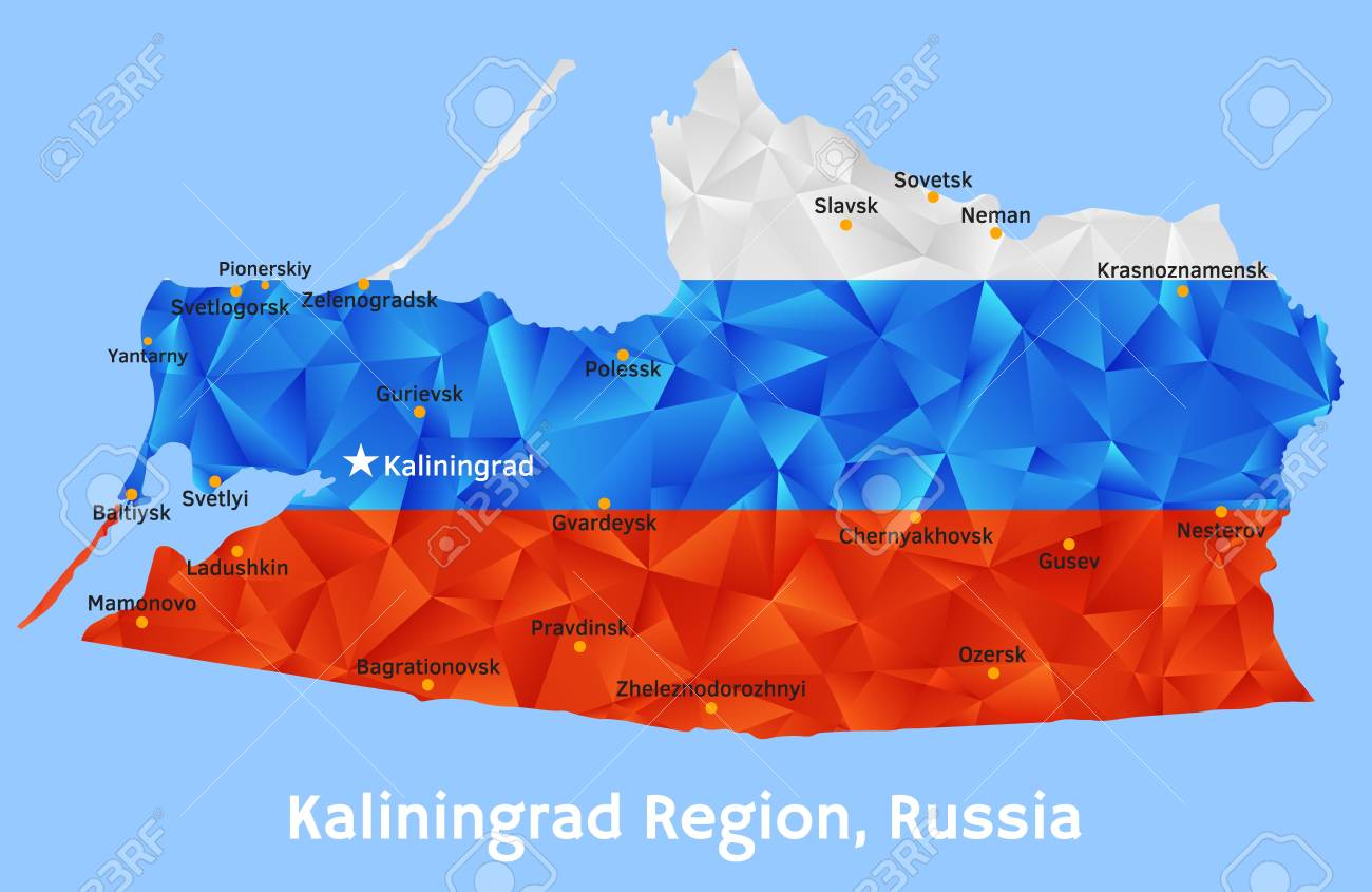 Vector Geometric Polygonal Map Of Kaliningrad Region Russia Royalty
