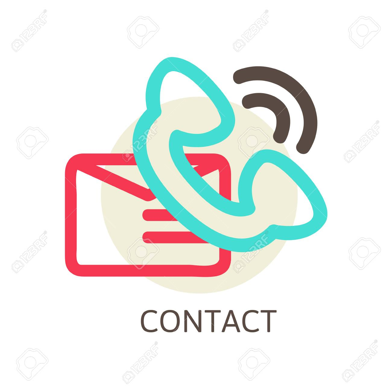 Contact Us Vector Icon E Mail And Phone Line Vector Illustration