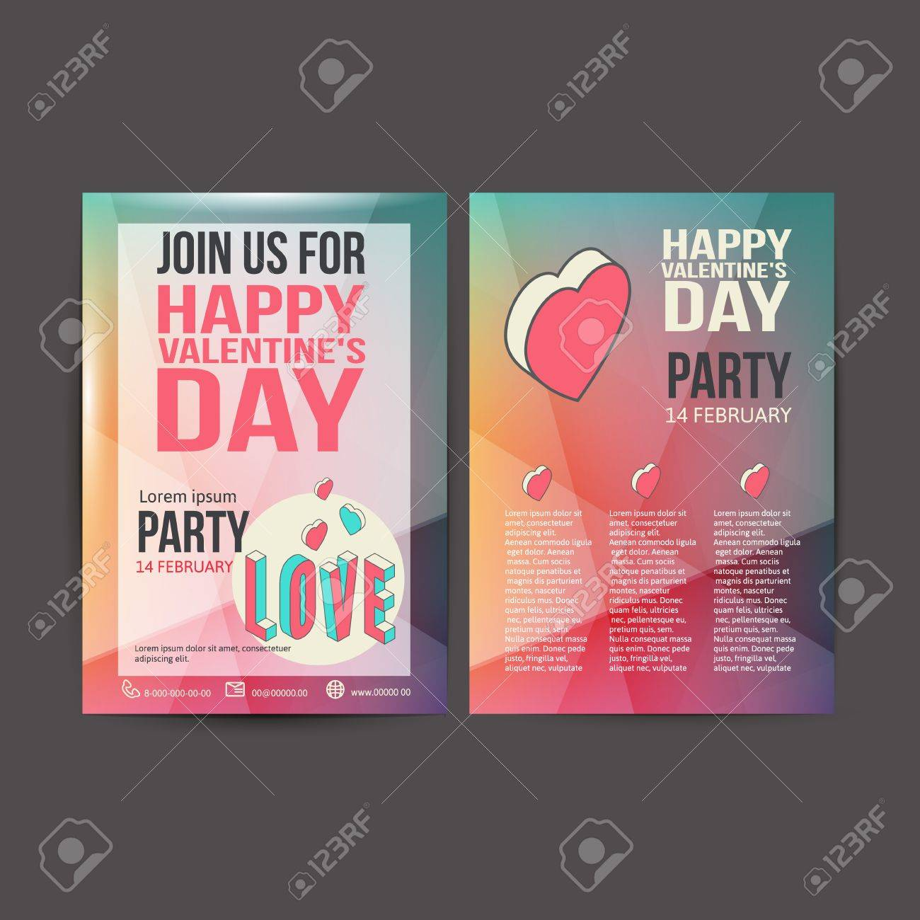happy valentines day party poster design template typography happy valentines day party poster design template typography flyer invitation vector illustration stock vector