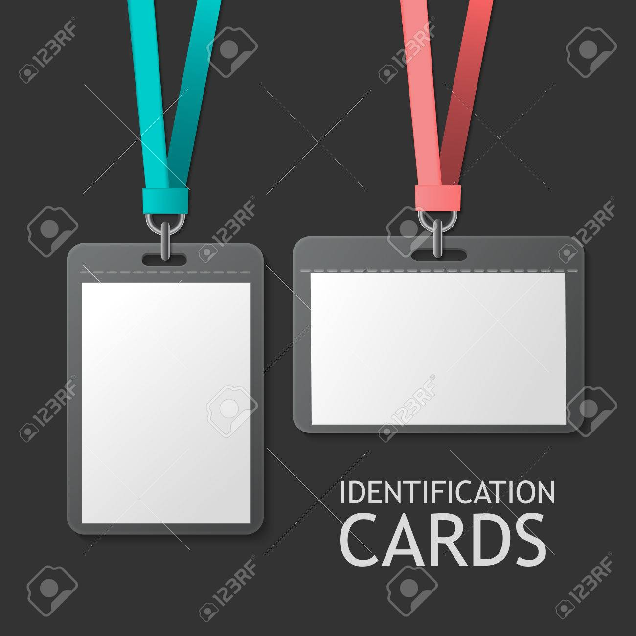 Badge Identification White Blank Plastic Id Cards Set Isolated – Blank Id Card Template