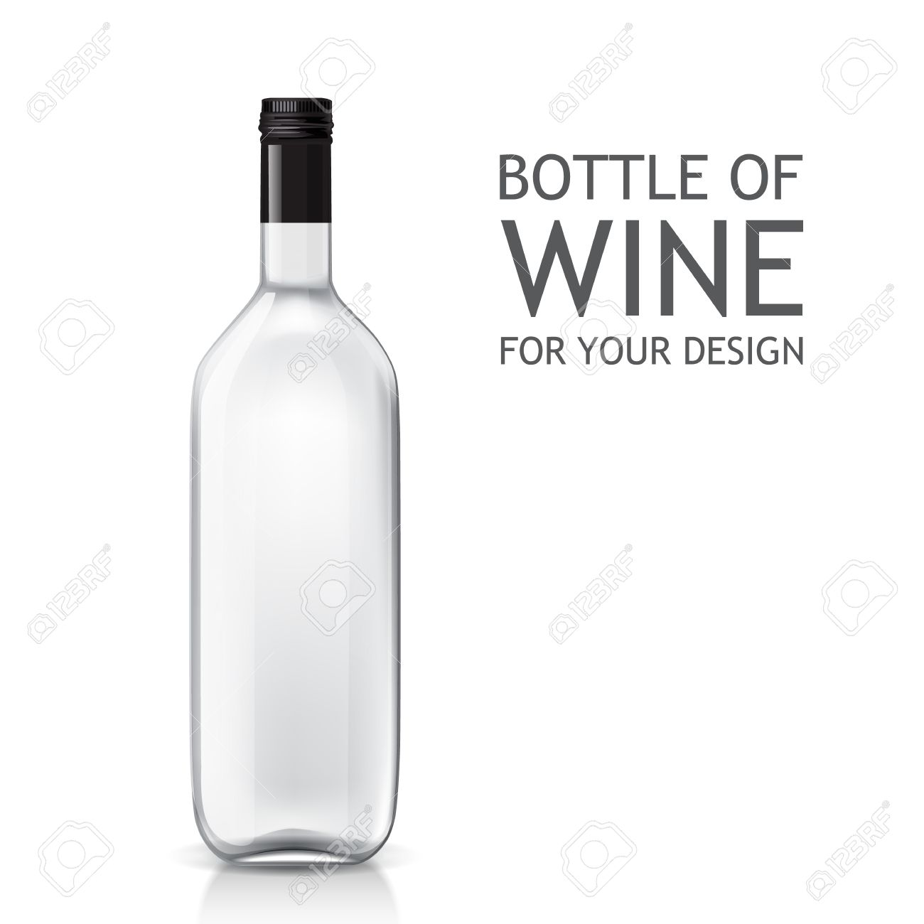 transparent realistic empty bottle of wine for your design bottle