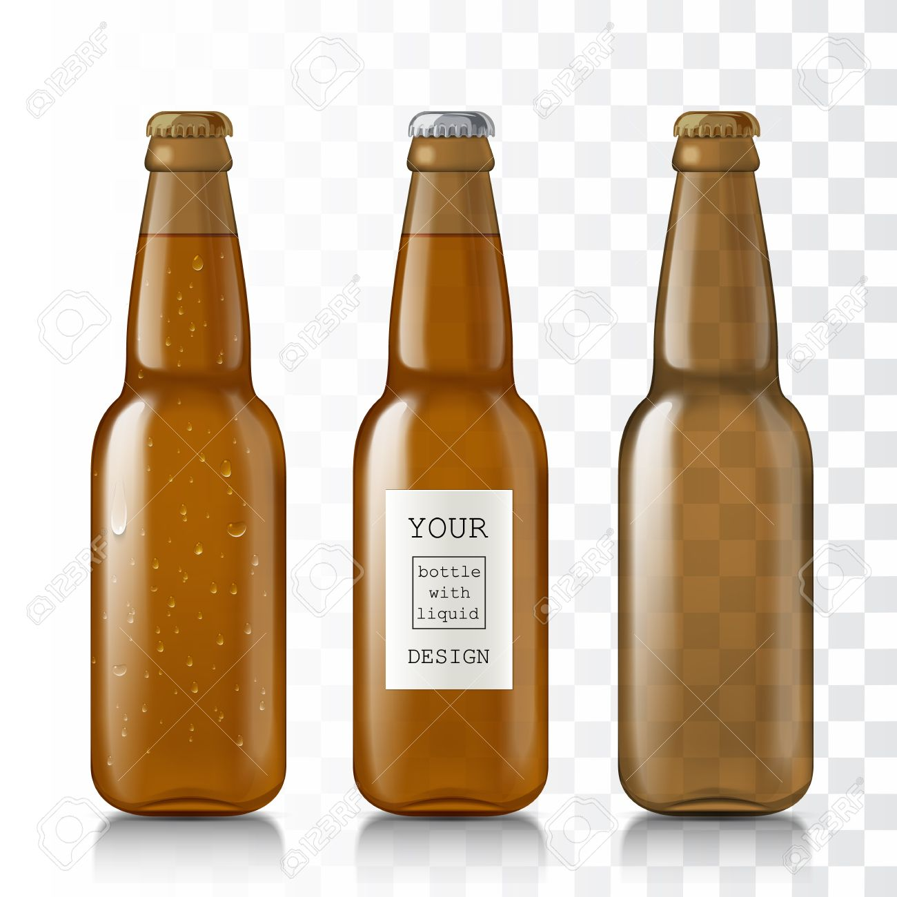 Templates Realistic Transparent Bottles. Set Of Glass Beer Bottles ...
