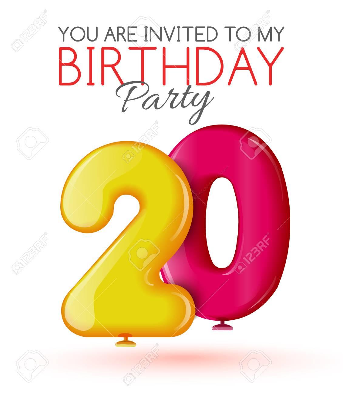 Einladung Zum 20. Geburtstag. Air 3D Roten Kugeln Aus Den Figuren.  Einladungskarte