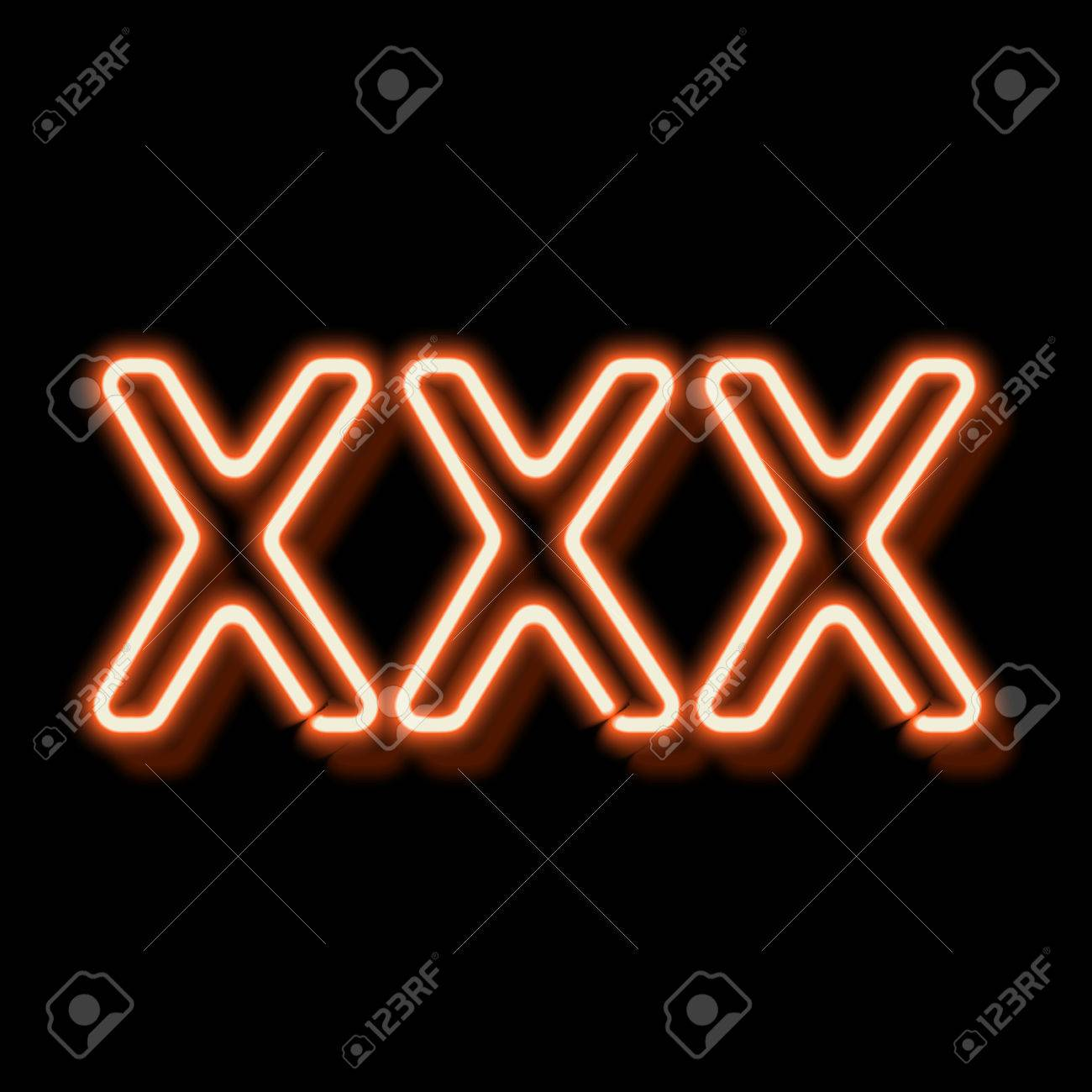 XXX Neon Sign. Lamp Symbol 18. Burning Erotic Sign. Vintage Electric ...