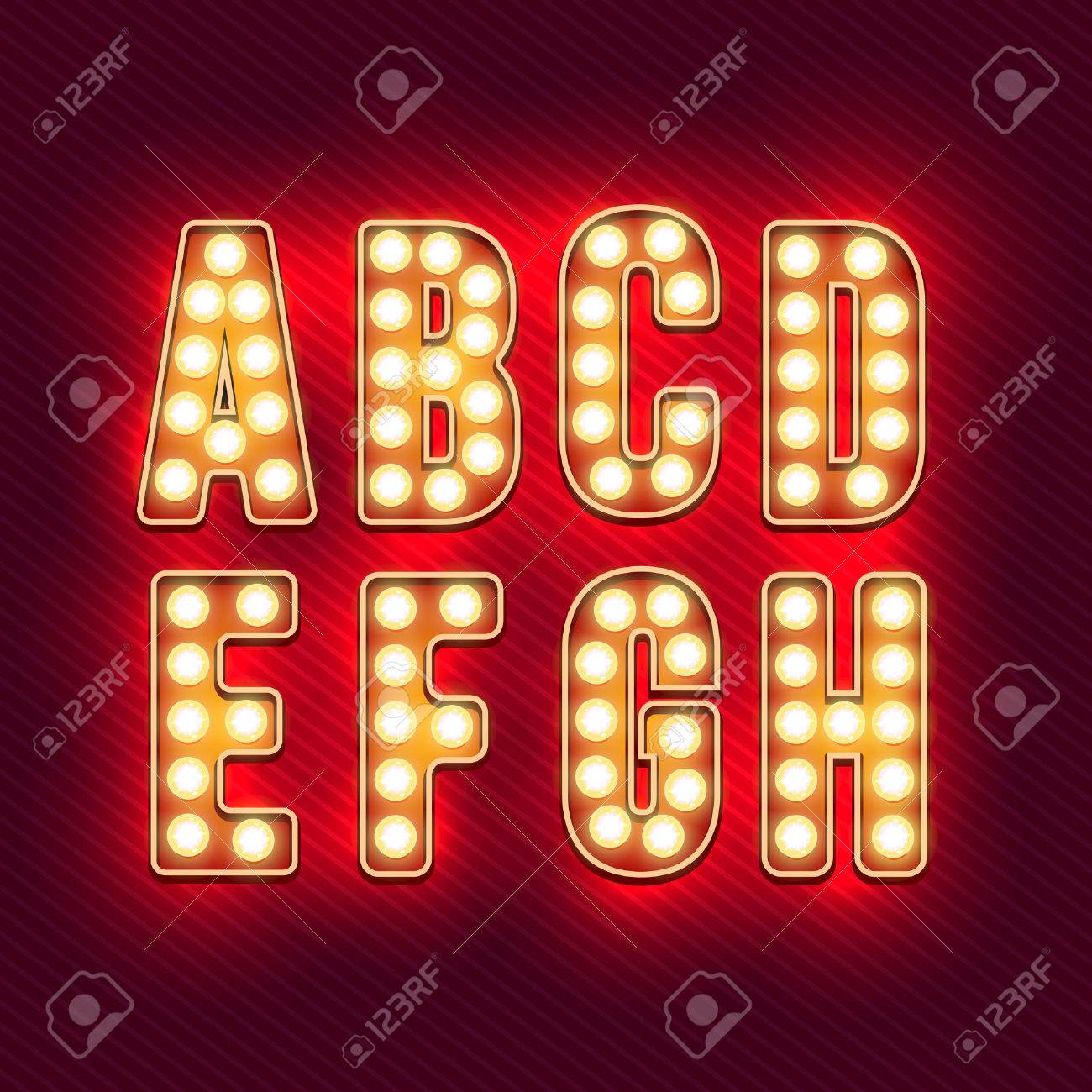 Retro alphabet. Realistic vintage letters. Neon light bulbs. Red retro letters. Set  sc 1 st  123RF.com : lighting letters - www.canuckmediamonitor.org