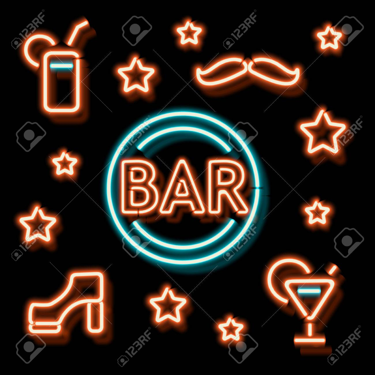 Neon bar symbols retro label bar shoe a mustache and a cocktail neon bar symbols retro label bar shoe a mustache and a cocktail burning buycottarizona Choice Image