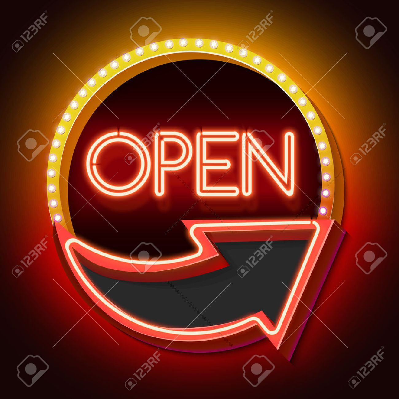 Retro sign that says openly and neon arrow. Neon red and yellow light falls on the black wall. 3D realistic vintage sign. Electric sign. Empty space for your text, publicity, promotion. Vector - 53228004