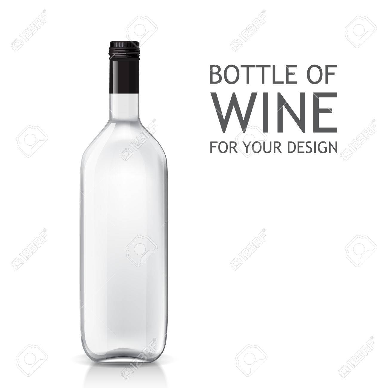 Transparent Realistic Empty Bottle Of Wine For Your Design. Bottle ...