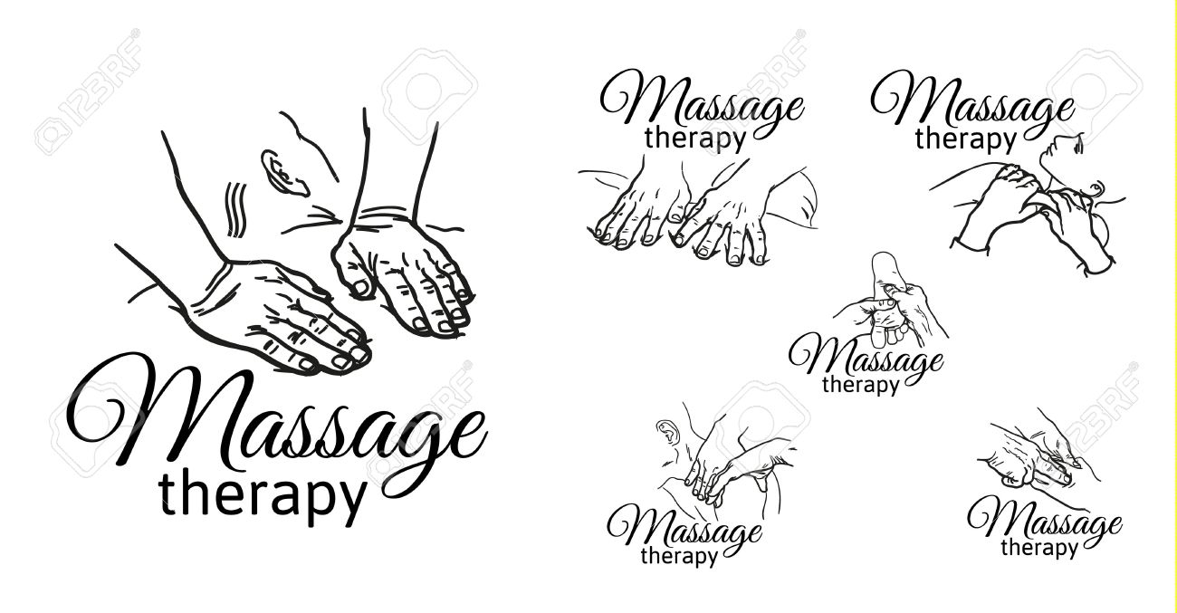 Hand massage, foot massage, back massage. Types of massage. Set with image of massage. Face massage. Massage therapy. Therapeutic manual massage. Relaxing therapy. Massage vector icons. Body massage - 64546466